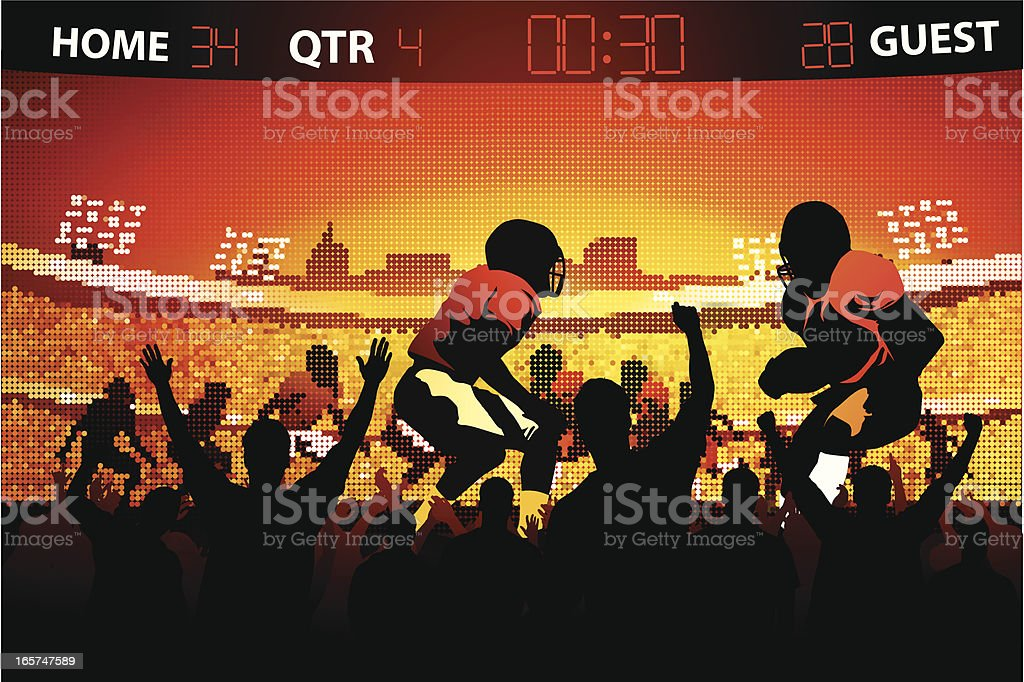 Fans watching football game on large screen vector art illustration