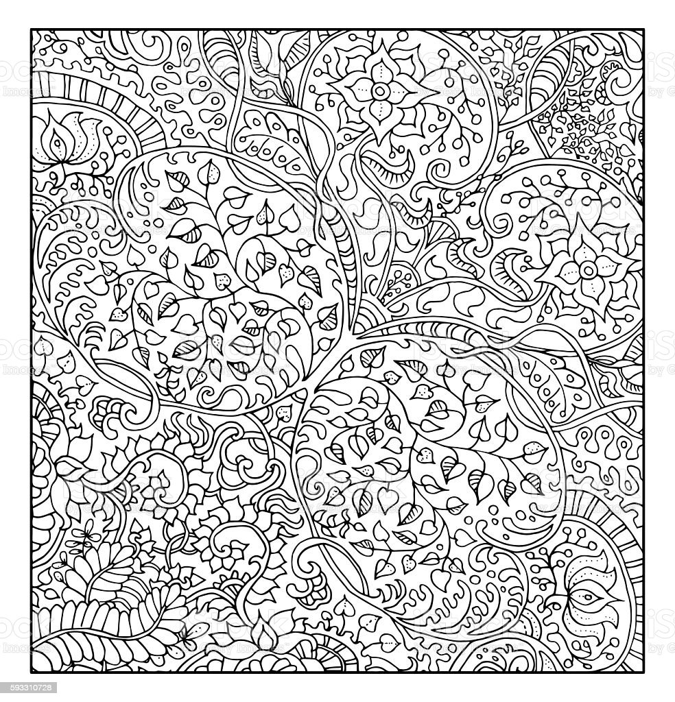 Fantastic background with floral pattern for coloring book vector art illustration