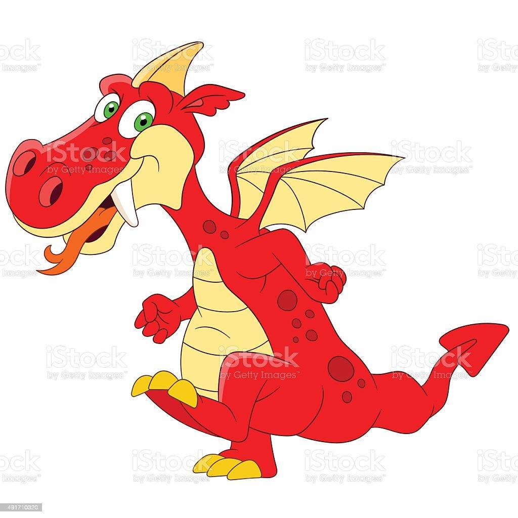 fantastic dragon vector art illustration