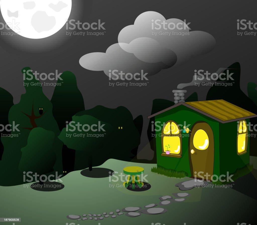 fantastic green lodge at night royalty-free stock vector art