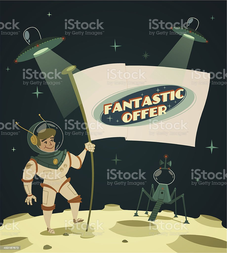 Fantastic offer. Cosmic space background royalty-free stock vector art