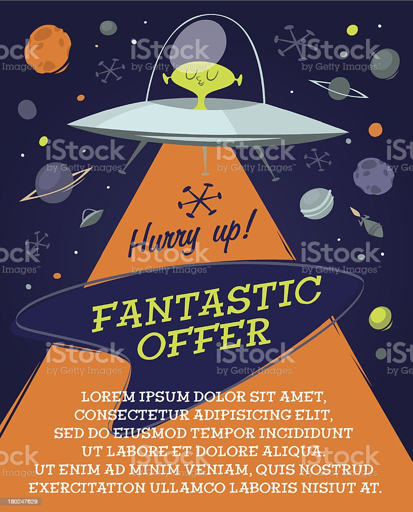 Fantastic offer in space. Retro styled vector poster. vector art illustration