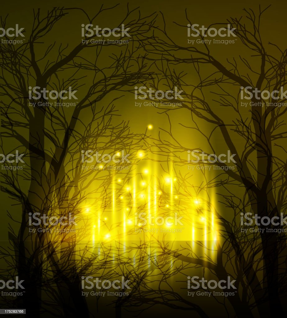 Fantasy background with trees in shadow and fairy dust royalty-free stock vector art