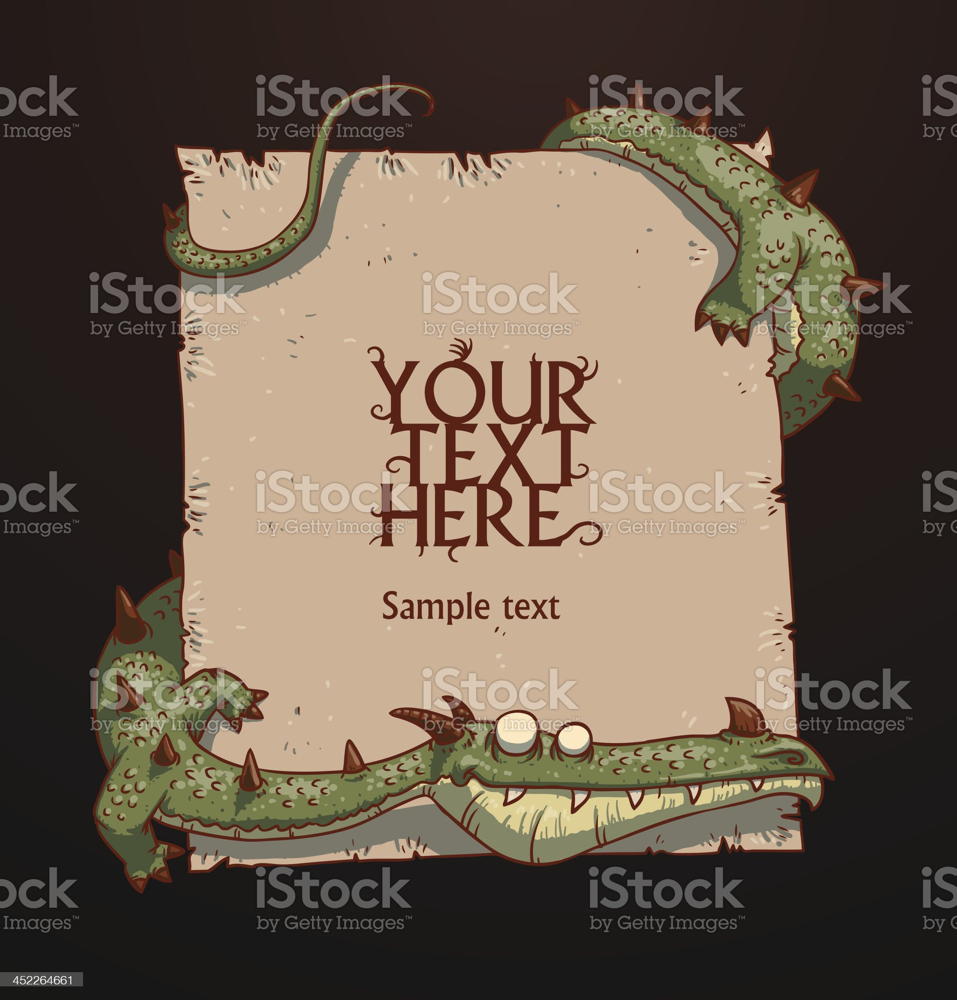 Fantasy banner green dragon royalty-free stock vector art