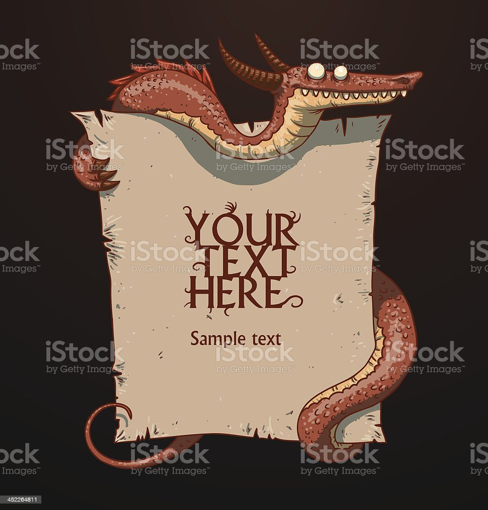 Fantasy banner red dragon royalty-free stock vector art