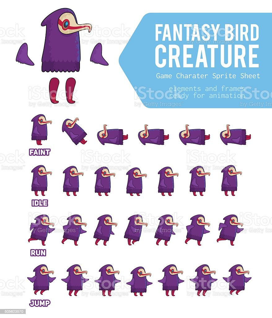 Fantasy Bird creature Game Character Sprite Sheet vector art illustration