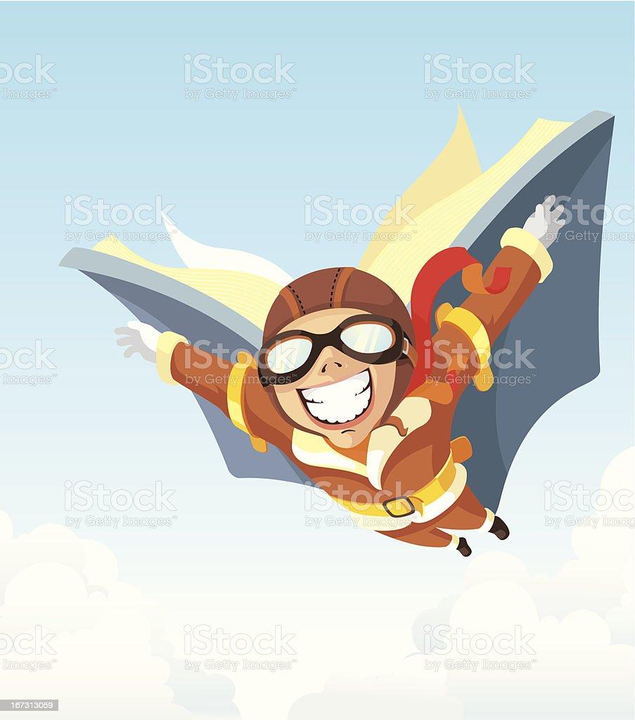 Fantasy Book Aviator vector art illustration