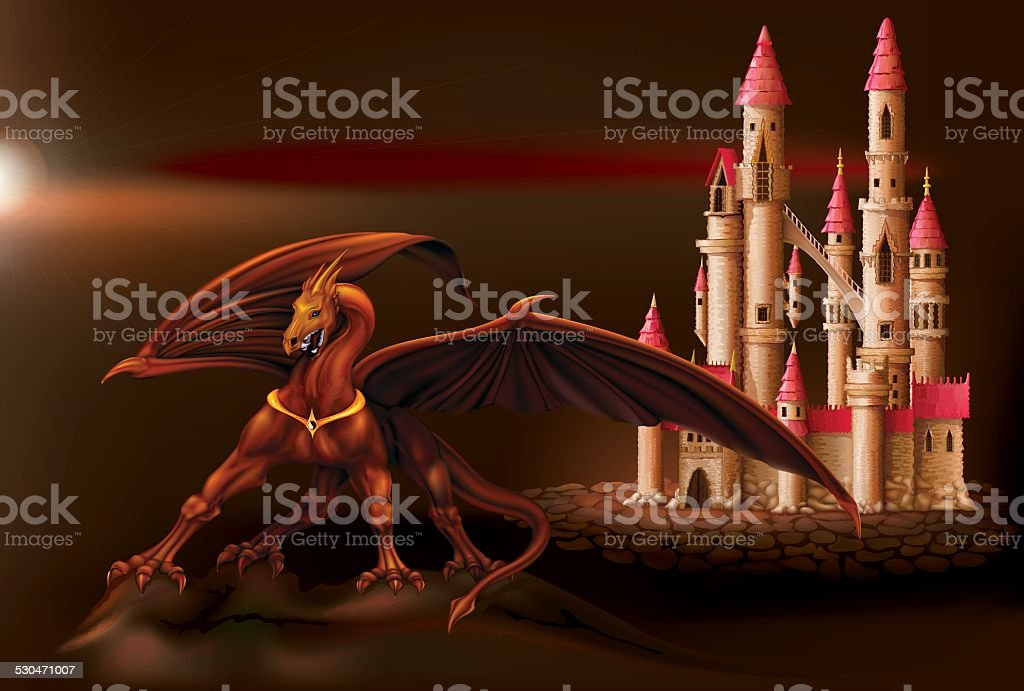 Fantasy castle and dragon vector art illustration