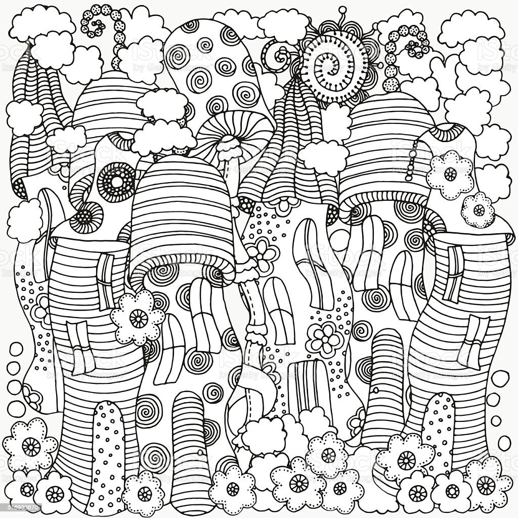 fantasy fairy houses in the magic forest coloring book page stock
