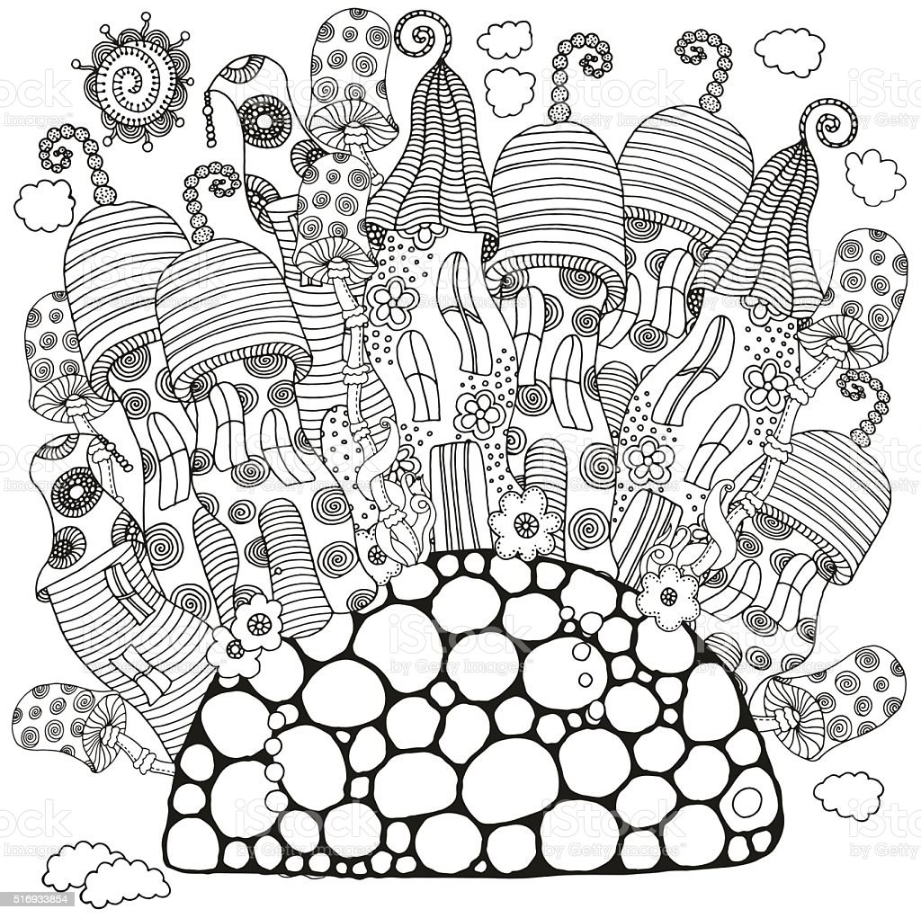 Fantasy fairy houses in the magic forest. Coloring book page. vector art illustration