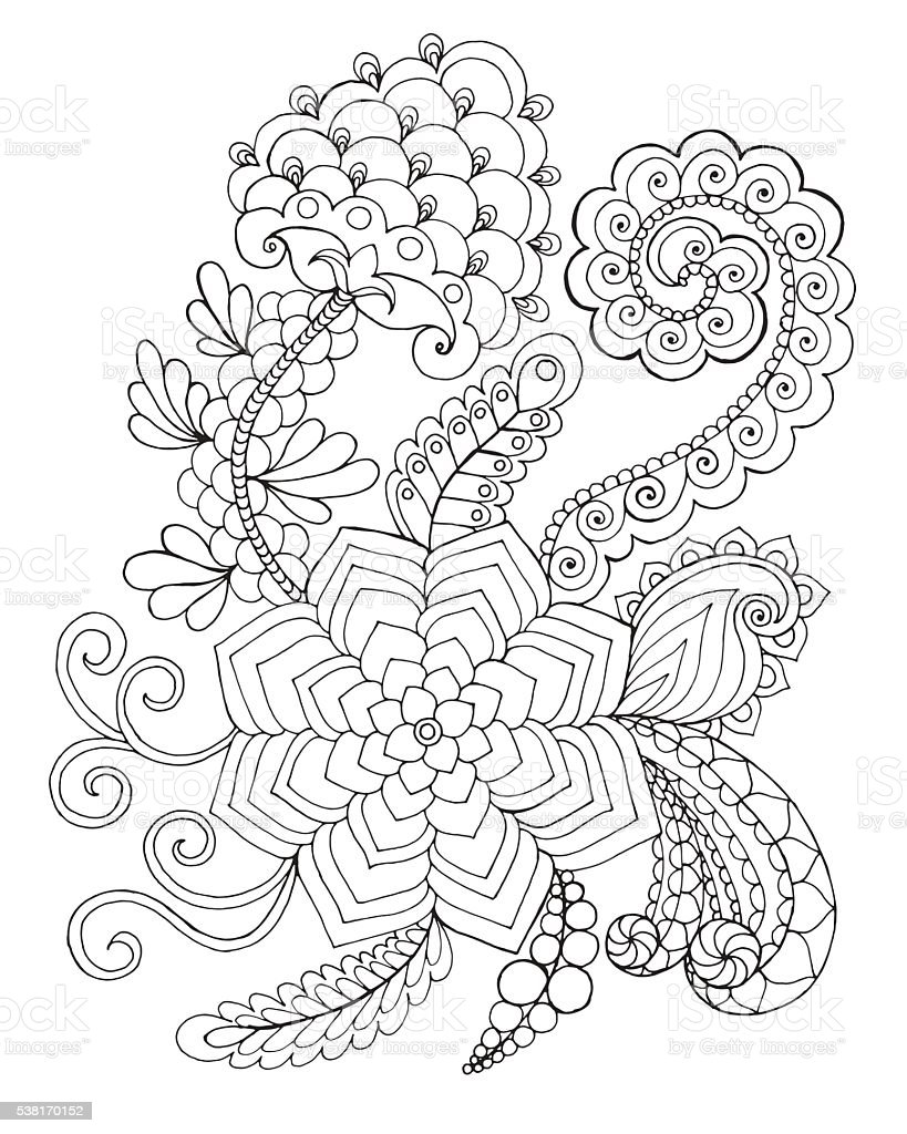 Fantasy flowers coloring page. vector art illustration