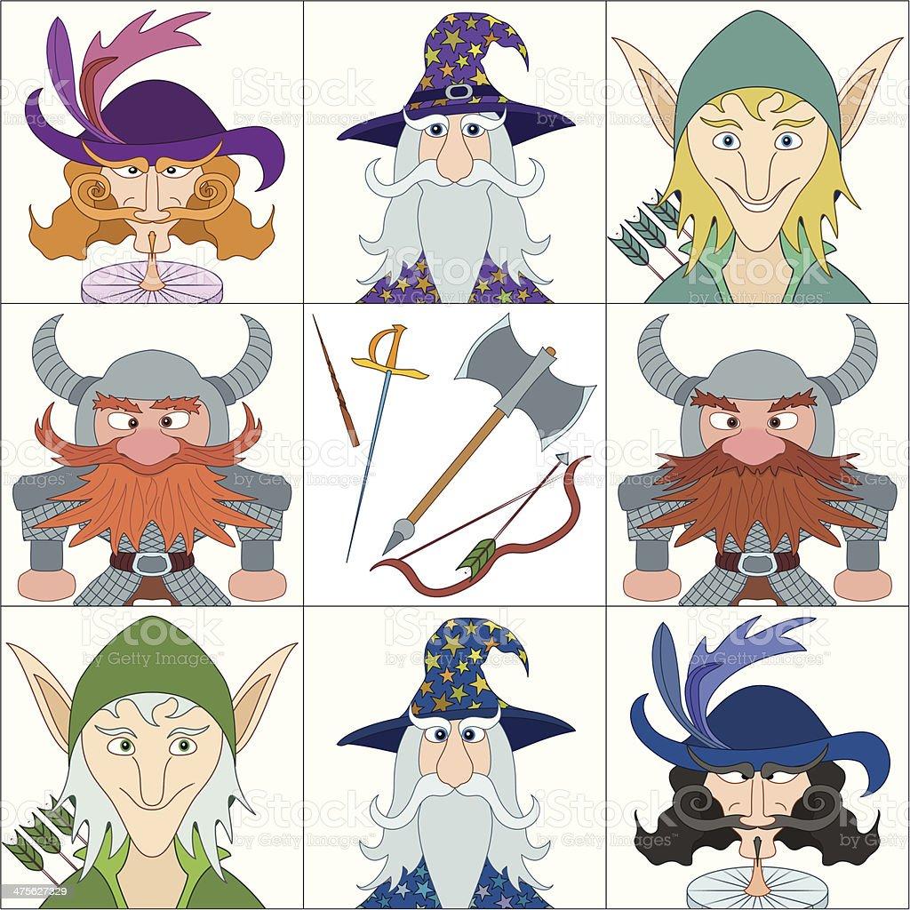 Fantasy heroes, set avatars vector art illustration