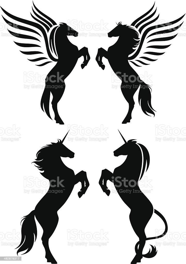 fantasy horses vector art illustration