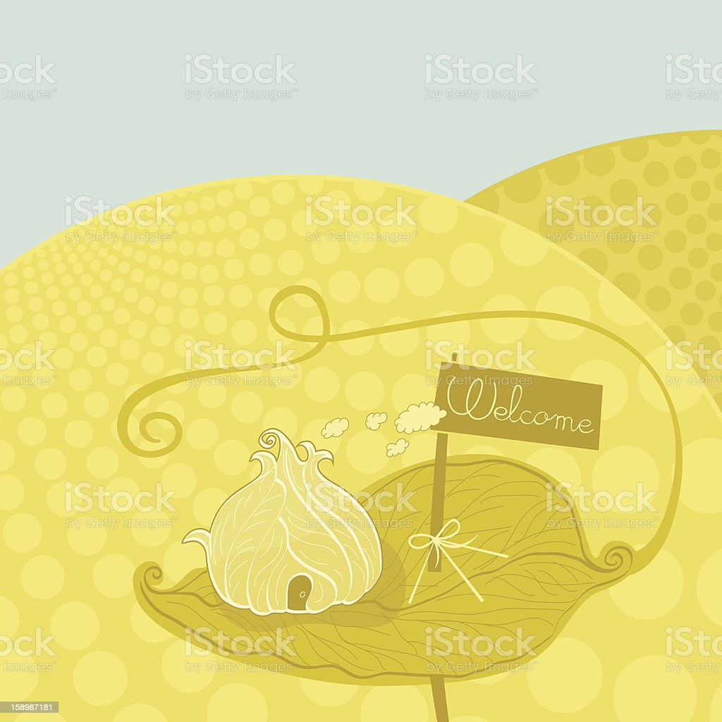 Fantasy house of leaves made for bugs and welcome sign royalty-free stock vector art