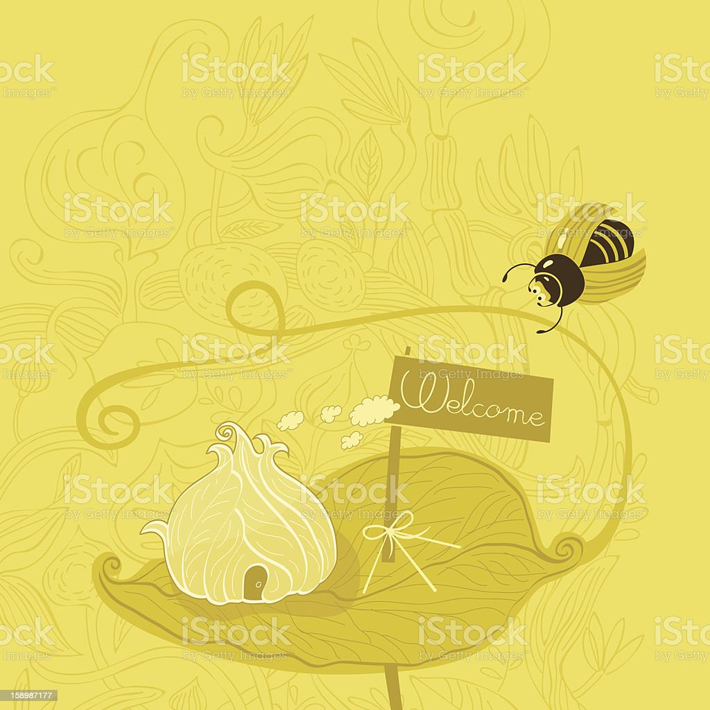 Fantasy house of leaves with welcome sign for bugs royalty-free stock vector art
