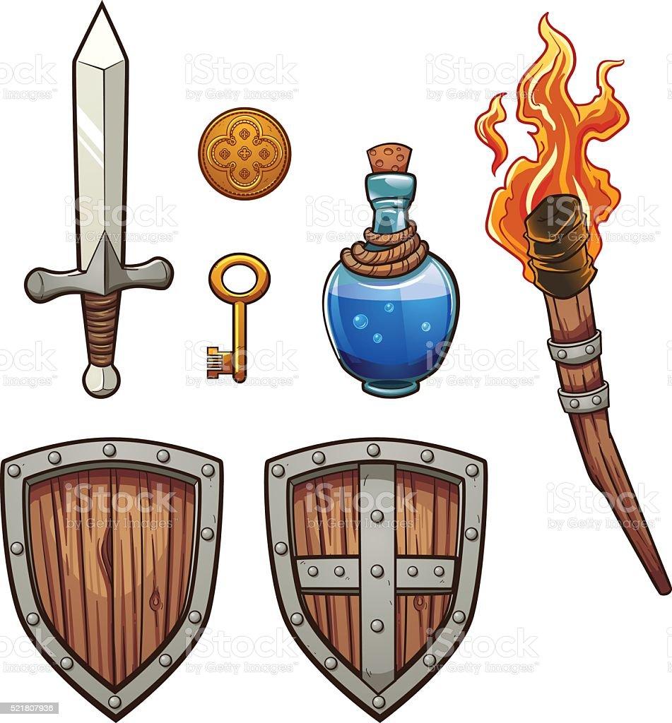 Fantasy items vector art illustration