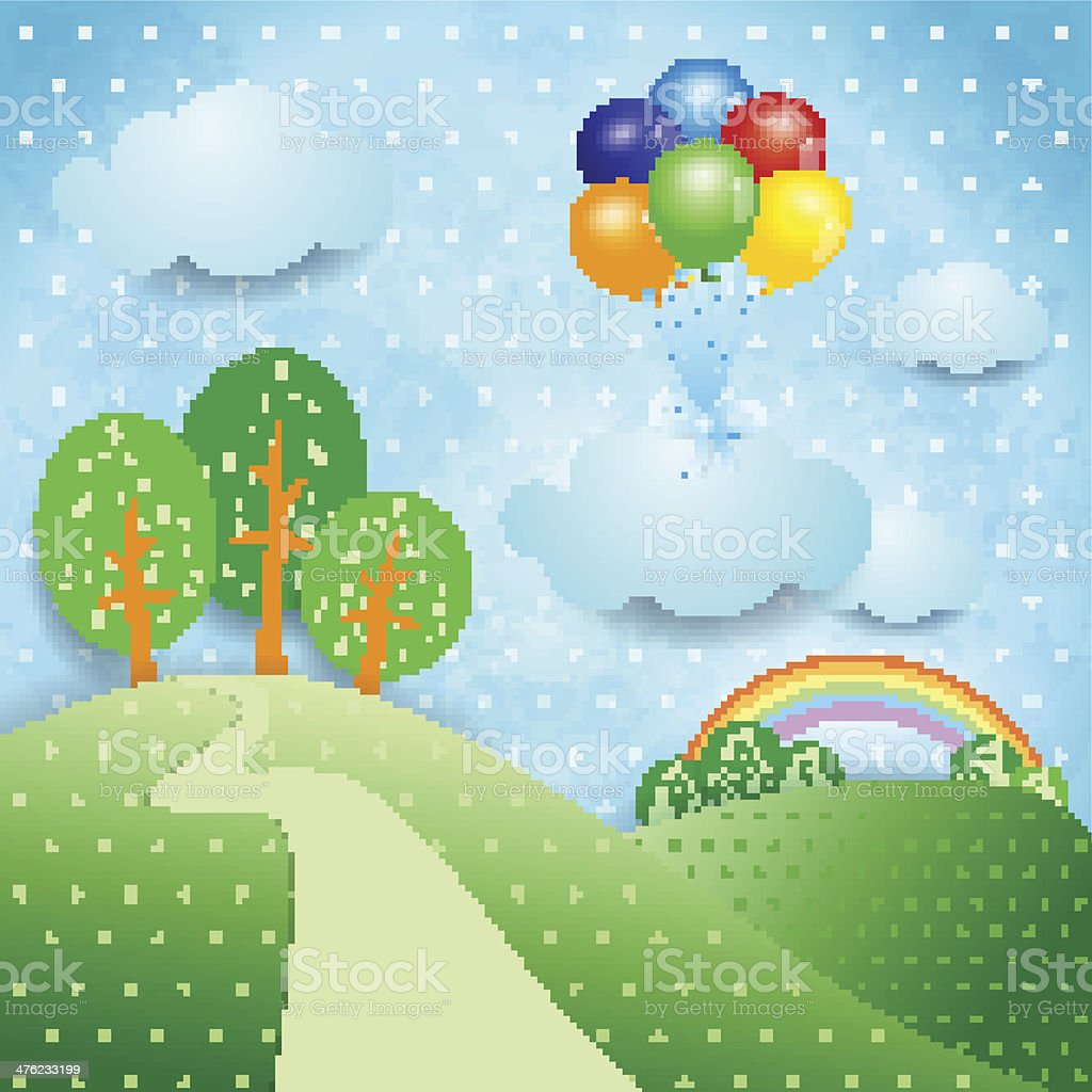 Fantasy landscape with balloons royalty-free stock vector art