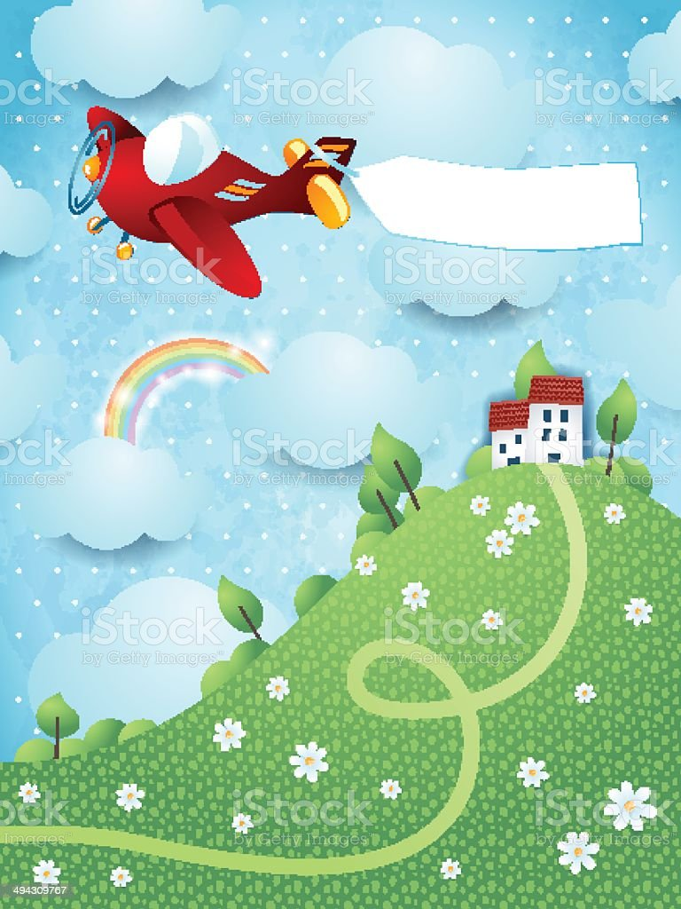 Fantasy landscape with hill, airplane and banner royalty-free stock vector art