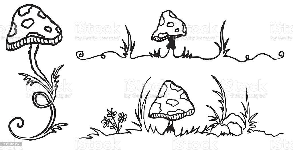 Fantasy Mushrooms royalty-free stock vector art