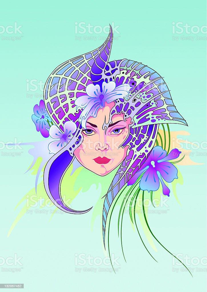 Fantasy portrait of a girl vector art illustration