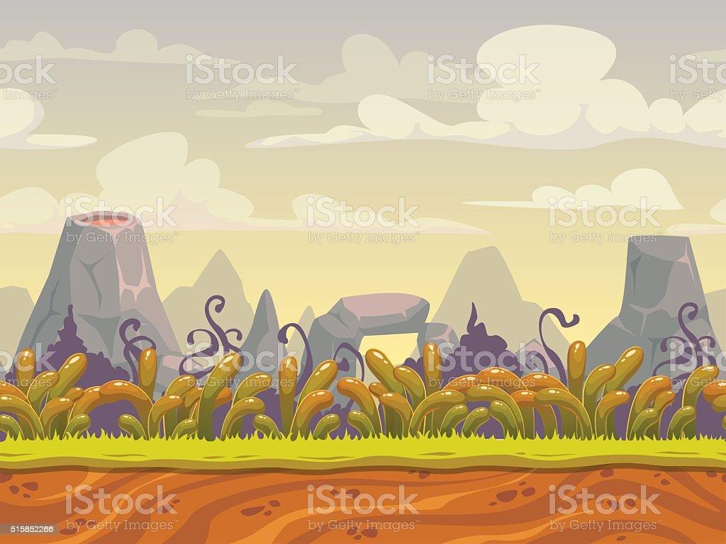 Fantasy seamless nature landscape vector art illustration