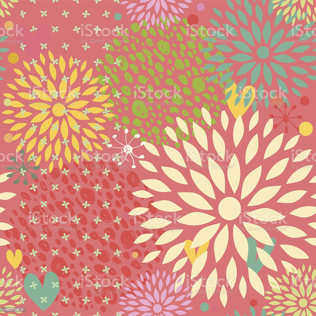 Fantasy seamless pattern with flowers royalty-free stock vector art