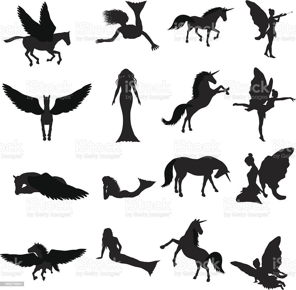 Fantasy Silhouette Collection (vector+jpg) royalty-free stock vector art