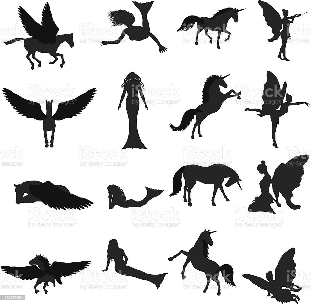 Fantasy Silhouette Collection (vector+jpg) vector art illustration