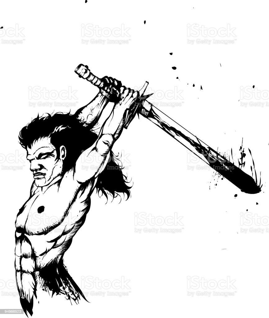fantasy warrior vector art illustration