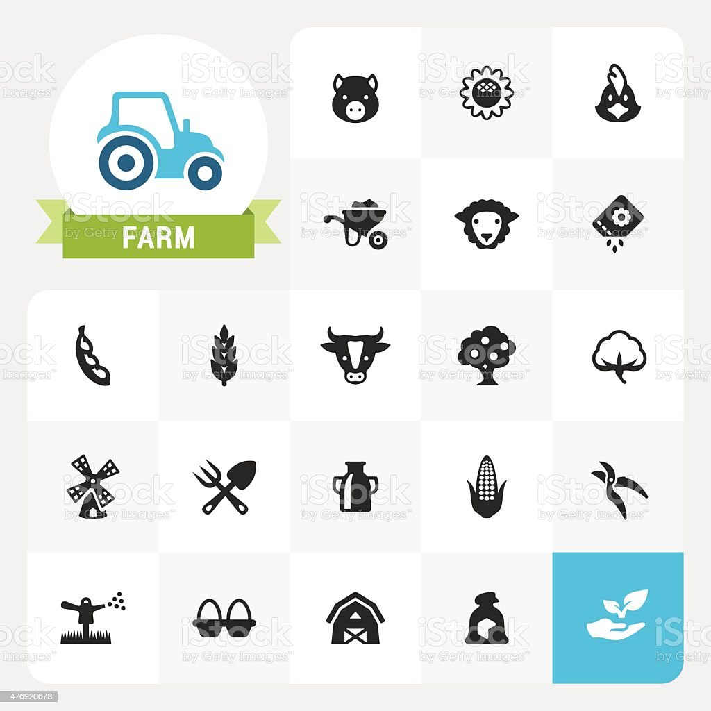 Farm and Agriculture base vector icons and label vector art illustration