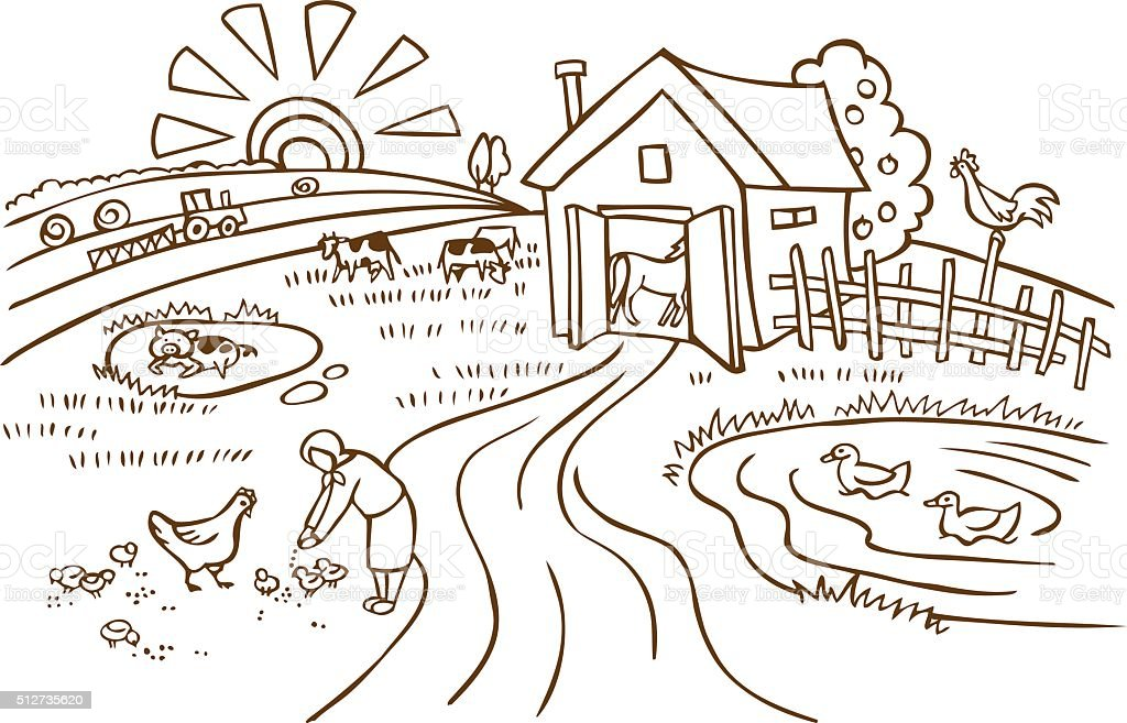 farm and agriculture illustration vector art illustration