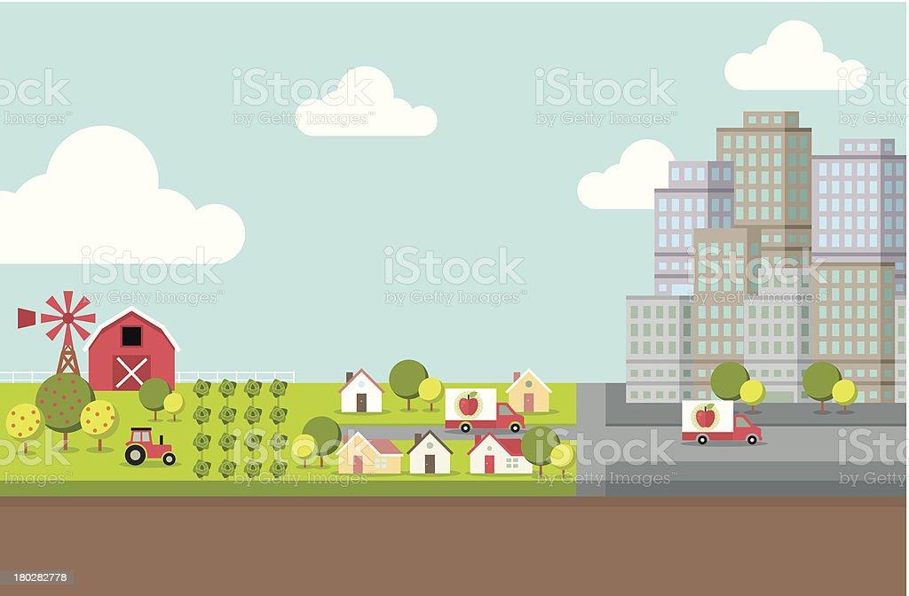 Farm and City vector art illustration
