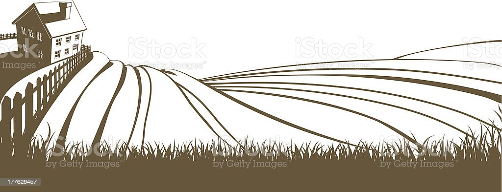 Farm and rolling hills vector art illustration