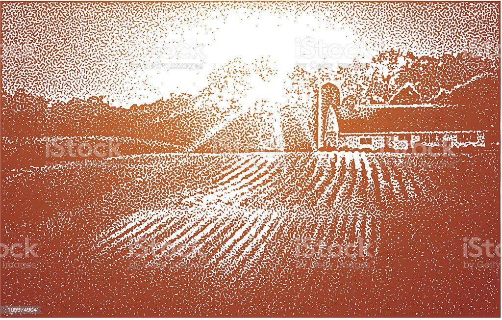 Farm and Sunset vector art illustration
