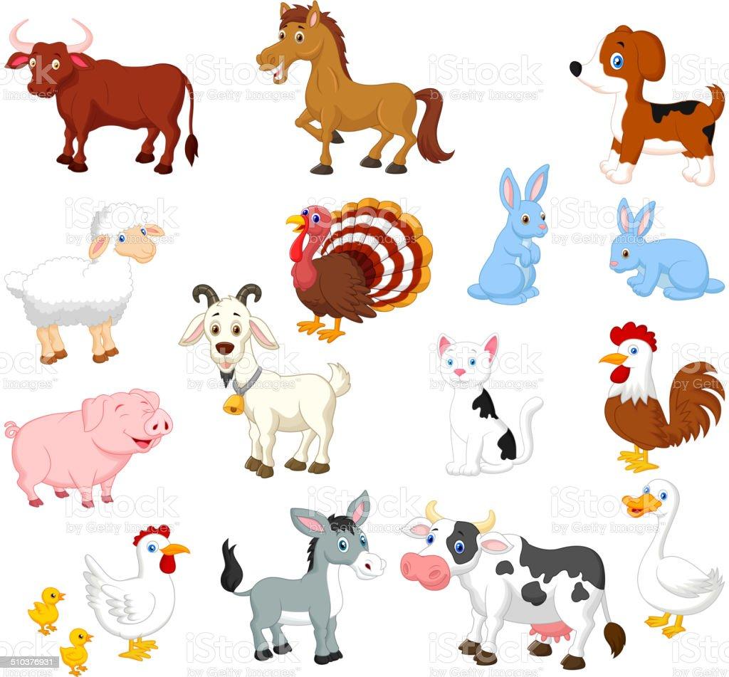 Vector illustration of Farm animal cartoon collection set