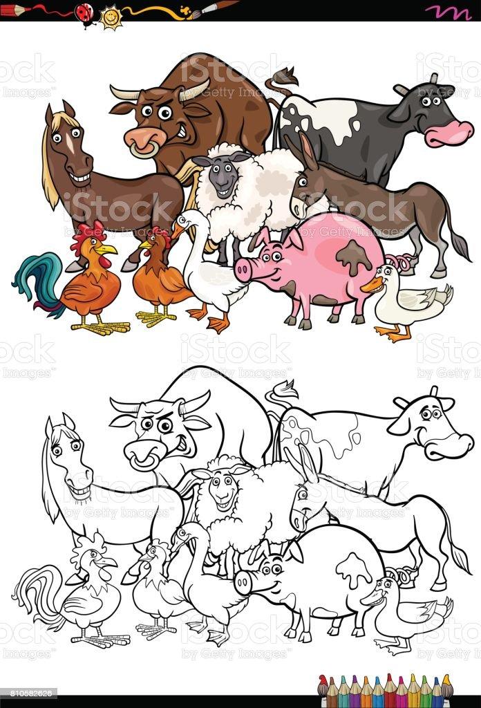 Farm Animal Coloring Book : Domestic animals: farm cow cartoon for coloring book stock