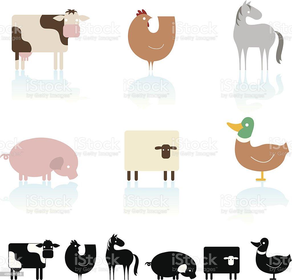 Farm animal icon set royalty-free stock vector art