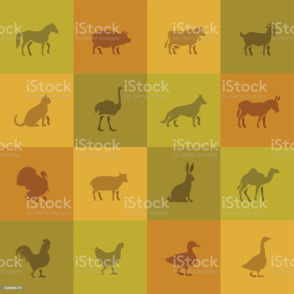 Farm Animal Icons vector art illustration