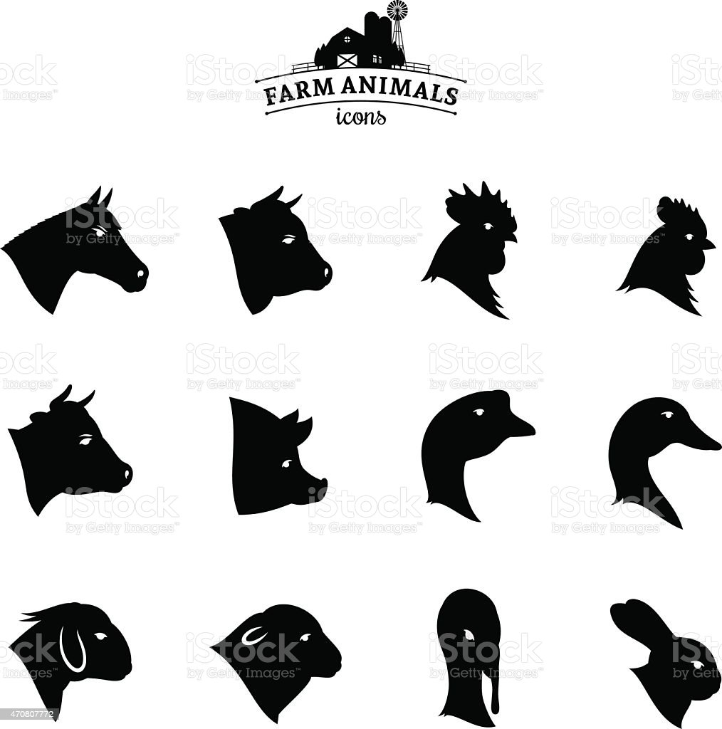 Farm animal logos on white background vector art illustration