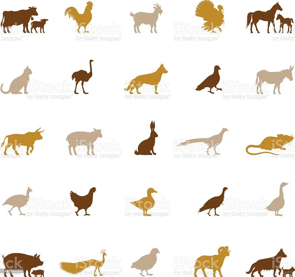 Farm Animal Silhouettes vector art illustration