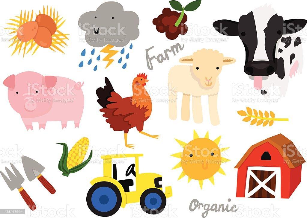 Farm Animals and Objects Vector Set vector art illustration