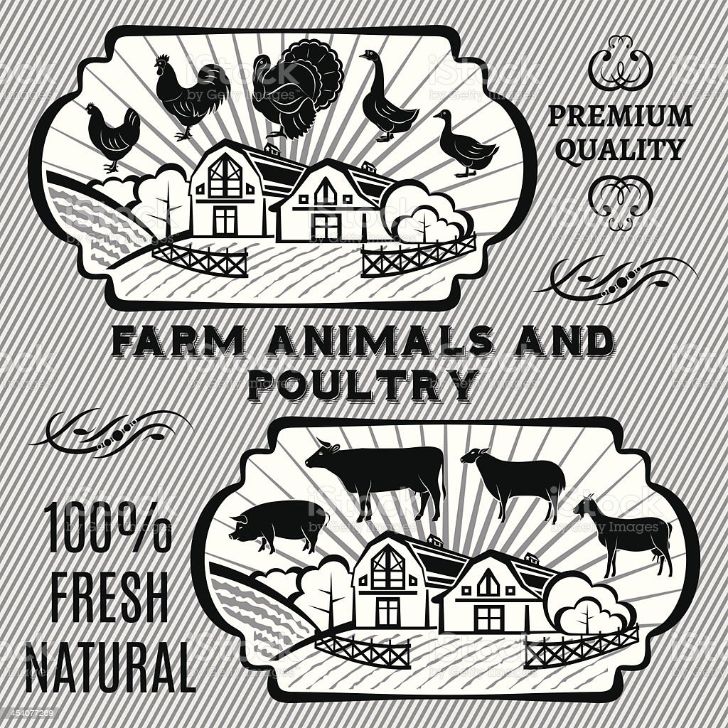 Farm animals and poultry royalty-free stock vector art