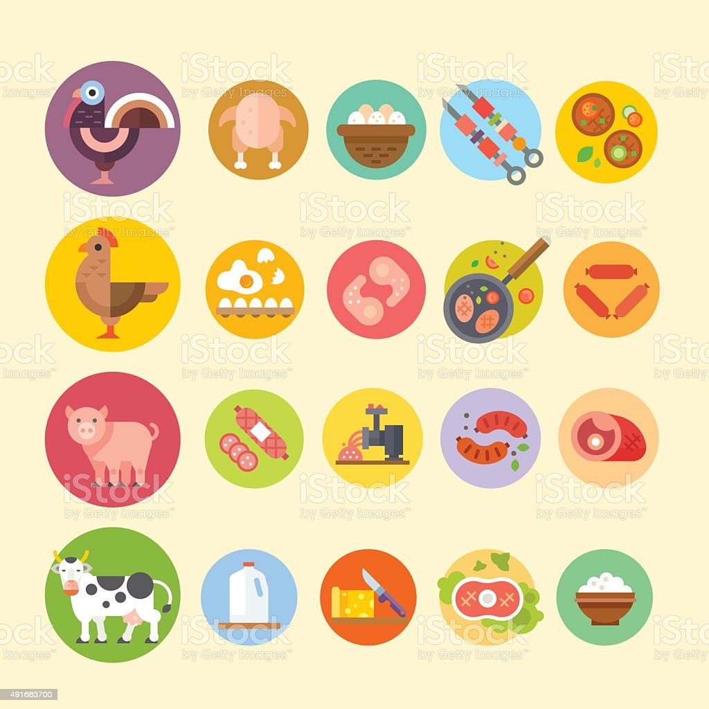 Farm animals and products made out of them. vector art illustration