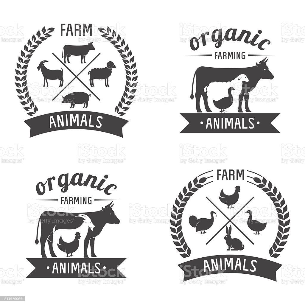 farm animals badges vector art illustration