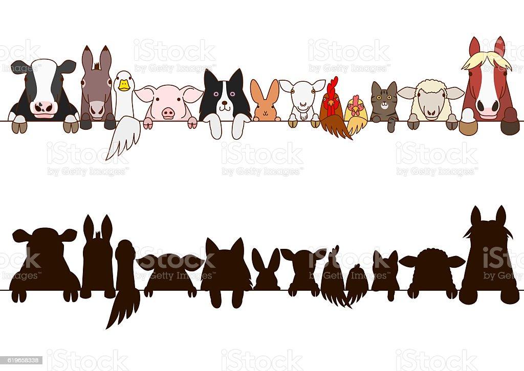 farm animals border with silhouette vector art illustration