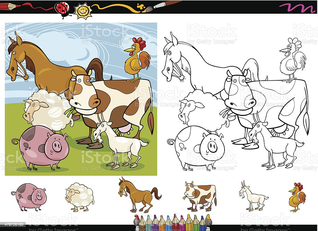 farm animals cartoon coloring page set royalty-free stock vector art
