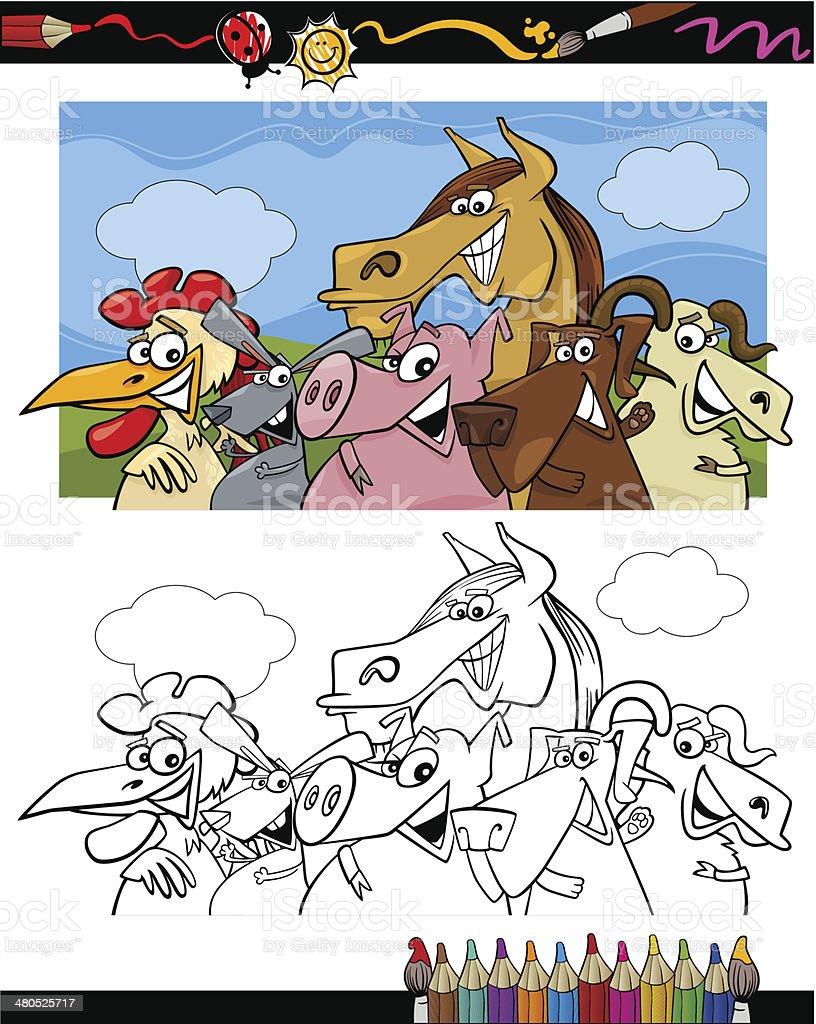 farm animals cartoon for coloring book royalty-free stock vector art