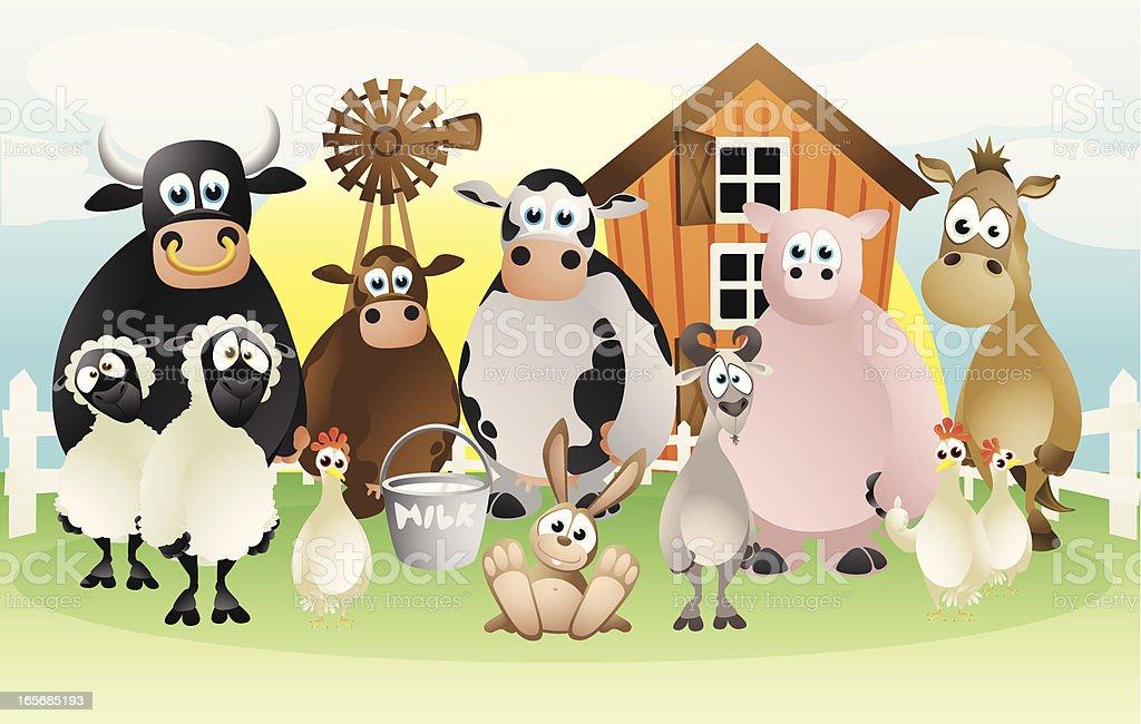 Farm animals collection vector art illustration