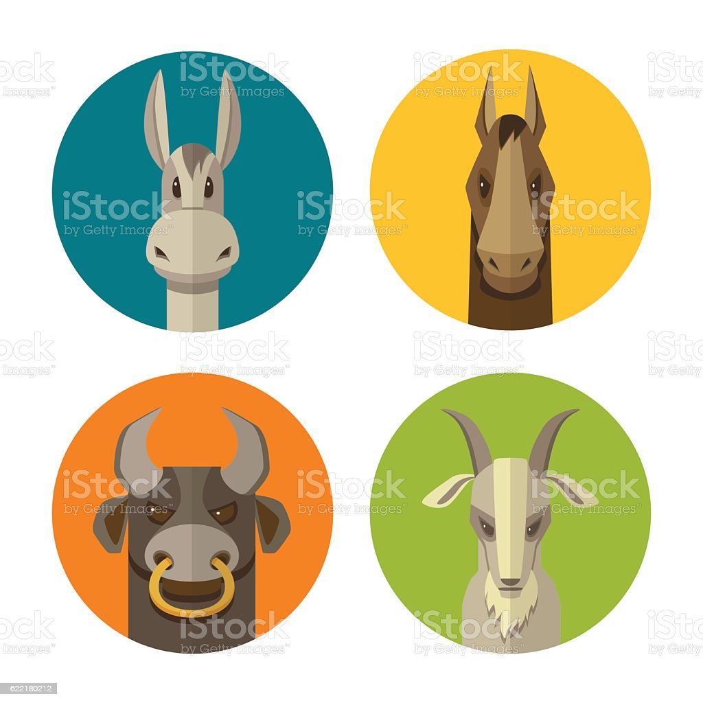 Farm animals donkey, horse, bull, goat flat design icon vector vector art illustration