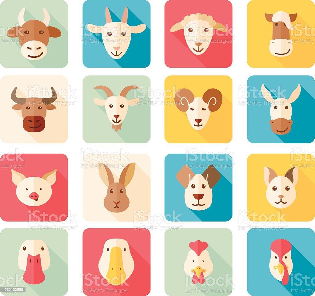 Farm animals flat icons with long shadow vector art illustration